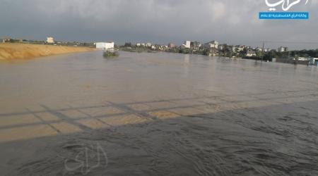 Sewage flooding east of Gaza city (ALRAY photo)