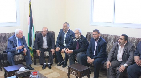 PLO officials shortly after their arrival in  Gaza