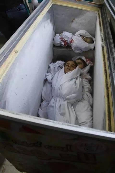 Children's bodies in icecream freezer