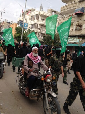 Hamas supporters take to the streets in Nuseirat. Photo: Julie Webb-Pullman